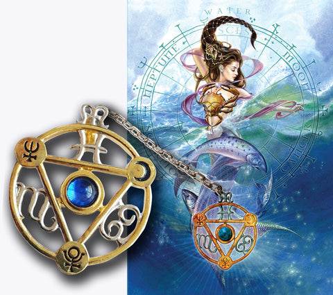 Elemental Water Talisman and Card Gift Set - Neptune Pluto Moon Planetary Sigils - Cancer Scorpio Pisces Pendant