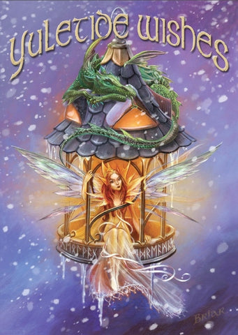 Elf Light Yuletide YULE Card - Briar Faery Elf with Dragon and Runes Holiday Solstice Greeting Card