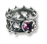 ELIZABETHAN Alchemy Gothic Ring - Dark LOVE HEART Lord Dudley's DEVOTION Ring