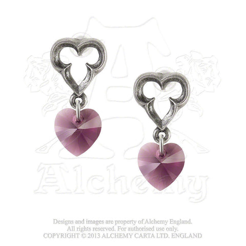 Elizabethan Heart Earrings - Alchemy Gothic Medieval Love Crystal earrings