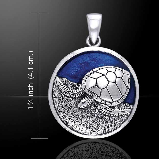 Sea turtle pendant in 925 sterling silver with blue enamel honu sea turtle pendant in 925 sterling silver with blue enamel honu pendant kame jewelry mozeypictures Images