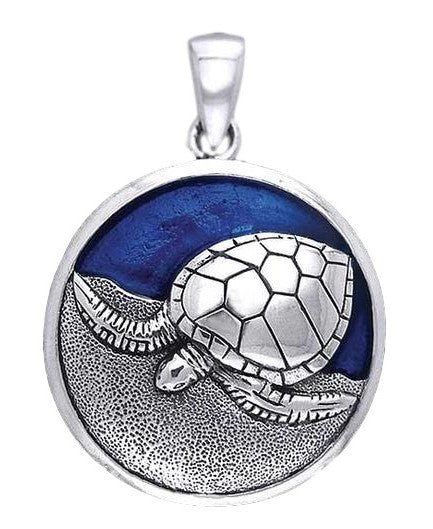 Sea Turtle Pendant in .925 Sterling Silver with Blue enamel - Honu Pendant Kame Jewelry Beach style