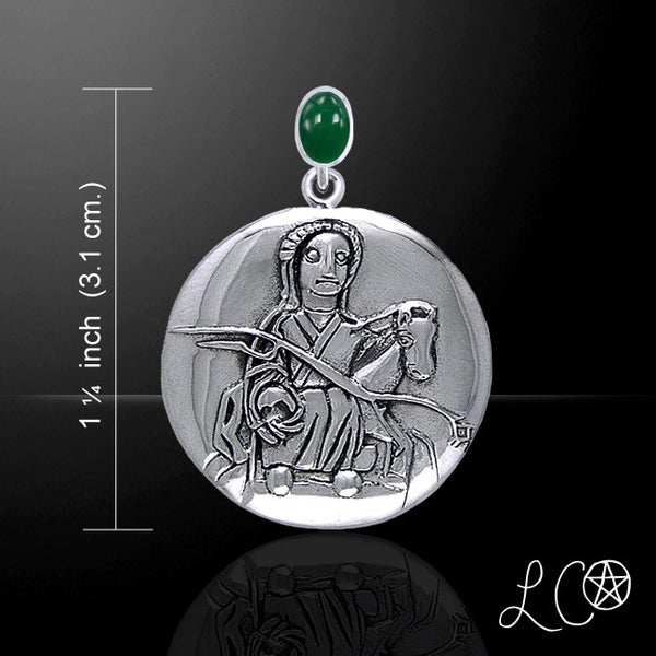 Epona Celtic Horse Goddess Pendant in .925 Sterling Silver - Rhiannon Goddess Amulet with Emerald Glass