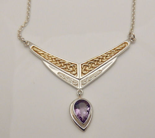 Celtic Eternity Necklace in .925 Sterling Silver with Gold vermeil and Amethyst Gem Dangle - Celtic Eternity Knotwork