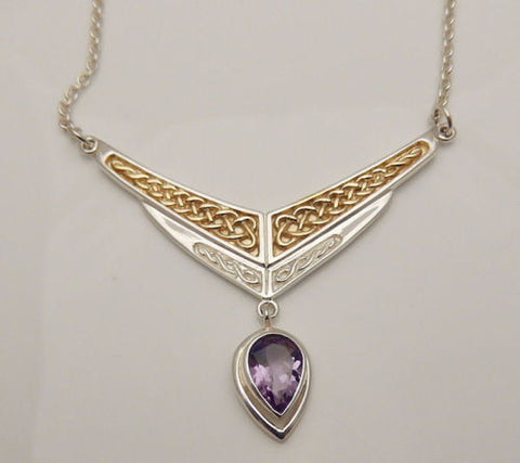 A Celtic Eternity Necklace in .925 Sterling Silver with Gold vermeil and Amethyst Gem Dangle - Celtic Eternity Knotwork