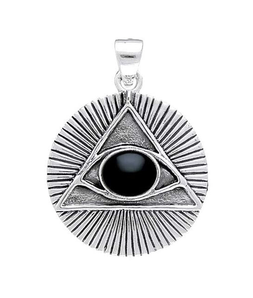 Eye of the Pyramid Pendant in .925 Sterling Silver with Black Onyx - All Knowing Eye Amulet