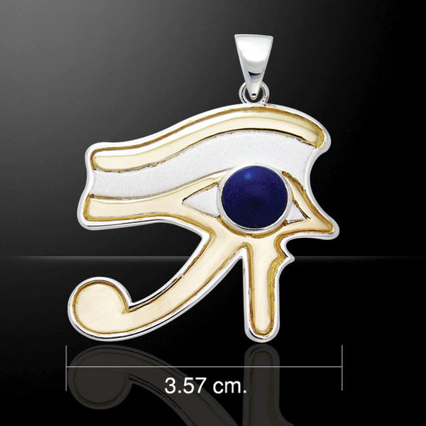 EYE of RA Horus Pendant in .925 Sterling Silver with Gold vermeil and Lapis - Egyptian FALCON GOD Wadjet Udjat