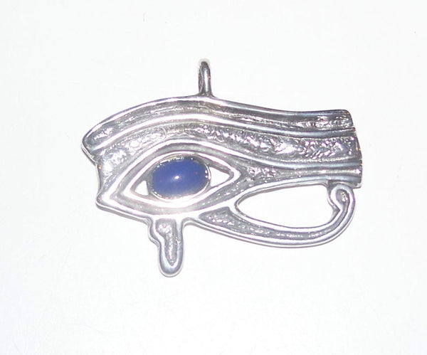 EYE of RA Horus Pendant Egyptian in .925 Silver with gemstone choice - FALCON GOD Wadjet Udjat