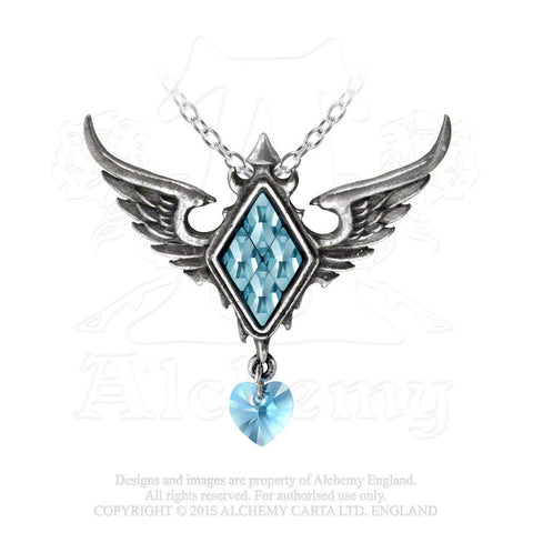 FROZEN HEART Pendant Alchemy Gothic Winged Heart Necklace w/ Ice Blue Crystals