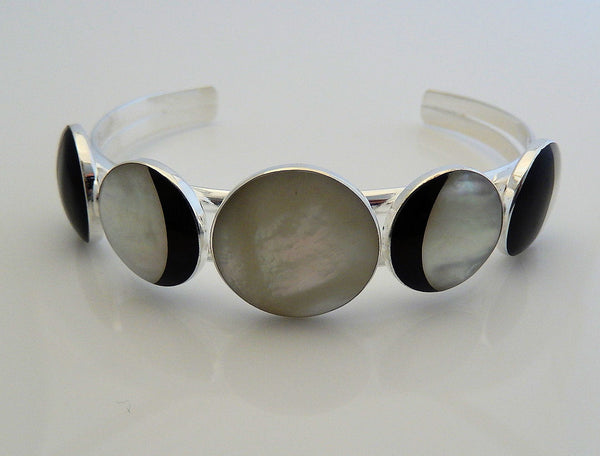 Magick MOON Bracelet Sterling Silver Plated over Brass - Lunar Phases Mother of Pearl FULL MOON Cuff Bracelet
