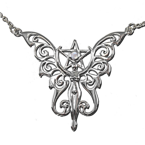 Faerie Pentacle Moon Necklace in .925 Sterling Silver with Natural Rainbow Moonstone - Butterfly Goddess Fairy Necklace