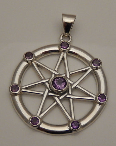 FAERY STAR Elven Pendant .925 Sterling Silver | Fae Elf Magick w/ Amethysts Amulet