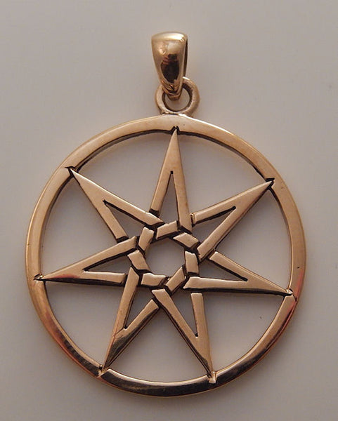 FAERY STAR Elven Pendant Gold tone Bronze Septagram Fae Elf Magick Pagan Fairy