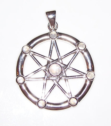 FAERY STAR Elven Pendant .925 Sterling Silver | Fae Elf Magick w/ multiple genuine Moonstone Amulet