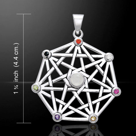 Faery Star Protective Septacle Pendant in .925 Sterling Silver - Fairy Elven Star with mixed gemstones