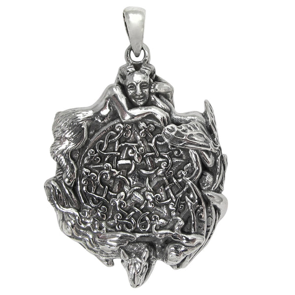 Fairy Pentacle Pendant in .925 Sterling Silver Dryad Design Faery Magick Pentagram Pendant