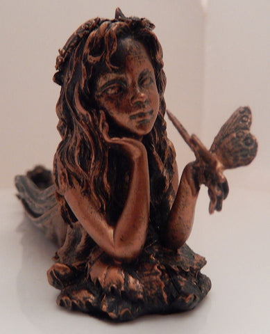 Fairy and Butterfly Incense holder - Bronze tone floral Faery Incense burner for stick incense