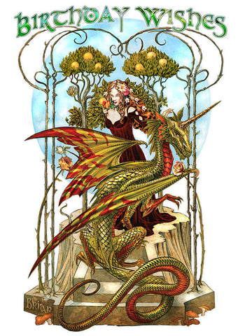 Fire Drake Dragon Birthday Card by Briar Garden of Fire Dragon Greeting Card