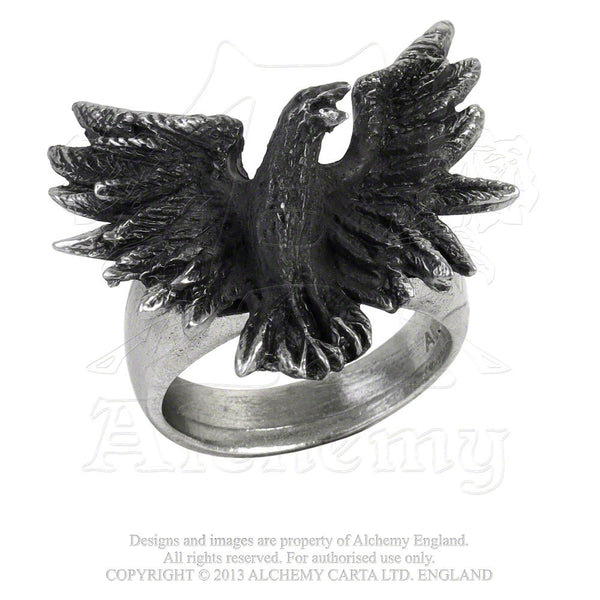 Flocking Raven Ring Alchemy Gothic - Odin's Messenger Black Raven Crow Ring