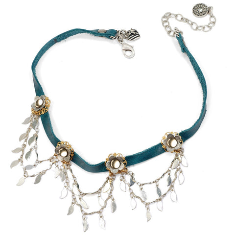 Flower Sparkling Swag 1960's style Turquoise Leather Choker - Sweet Romance Leather Choker