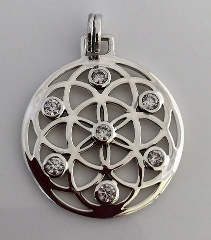 FLOWER of LIFE Pendant in White Bronze Silver Plate with White Cubic Zirconia - SACRED Geometry Mandala