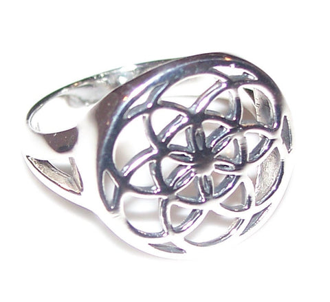 Flower of Life Ring in .925 Sterling Silver - Sacred Geometry Mandala Seed of Life Ring
