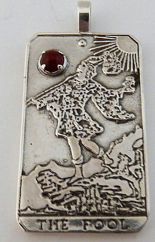 FOOL Tarot Card Pendant .925 Sterling Silver with natural Carnelian gemstone - Trust and Faith