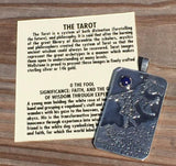 FOOL Tarot Card Pendant .925 Sterling Silver with natural Lapis Lazuli gemstone - Trust and Faith