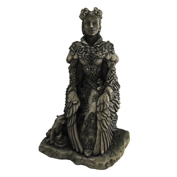 Freya Statue - Norse Goddess Viking Statuary - Small Dryad Design Bone or Stone Finish Freyja and her Cats Statue