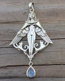 FREYA NORSE Love Goddess Pendant in .925 Sterling Silver - Dryad Design Viking Cat QUEEN with Moonstone