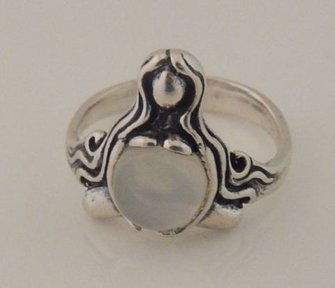 GODDESS of ABUNDANCE RING in 925 Sterling Silver MOTHER Midwife ring w/ genuine Moonstone
