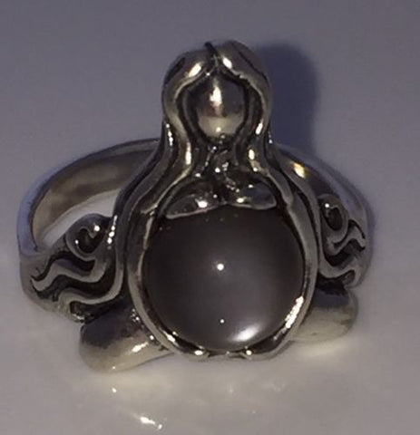 GODDESS of ABUNDANCE RING in 925 Sterling Silver MOTHER Midwife ring w/ genuine Gray moonstone