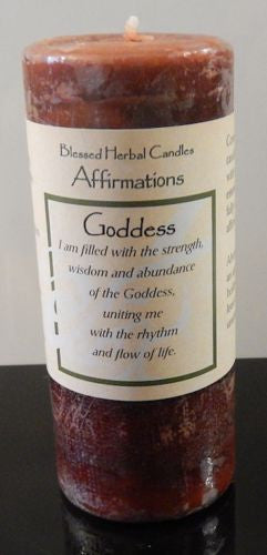 GODDESS Candle - COVENTRY CREATIONS Goddess affirmation Patchouli Magick Pillar
