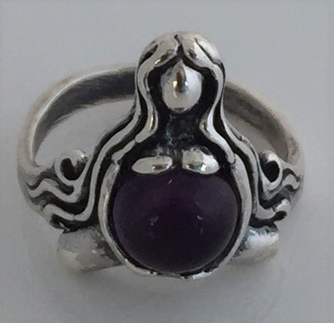 GODDESS of ABUNDANCE RING in 925 Sterling Silver MOTHER Midwife ring w/ genuine Amethyst