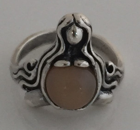 GODDESS of ABUNDANCE RING in 925 Sterling Silver MOTHER Midwife ring w/ genuine Peach Moonstone