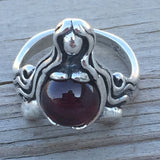 GODDESS of ABUNDANCE RING in 925 Sterling Silver MOTHER Midwife ring w/ genuine Garnet