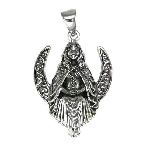 High Priestess Pendant in .925 Sterling Silver - Dryad Design Seated Moon Goddess Pendant