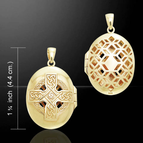 Celtic Cross Locket in 18K Gold Plated .925 Sterling Silver - RADIANCE & FAITH Pendant with Cut outs