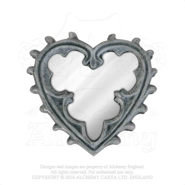A Medieval Heart Compact Mirror - Alchemy Gothic Heart Mirror - Floral vegetative Medieval design
