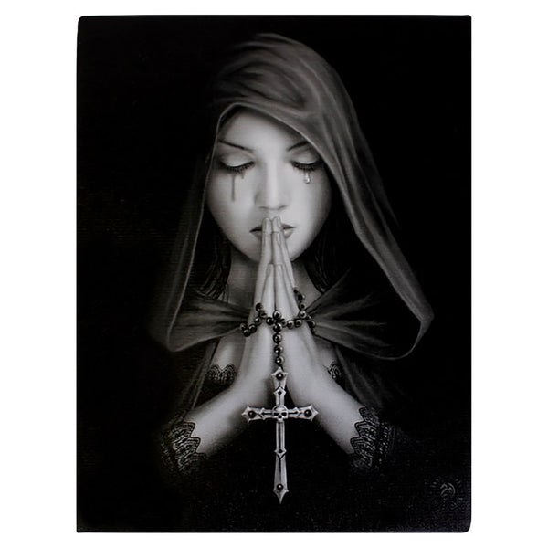 Gothic Prayer Wall Plaque Art Print Anne Stokes - Lady with Gothic Skull Cross and Prayer Beads
