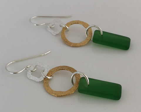 Geometric Grass Green Sea Glass Always Earrings in .925 Sterling Silver with Hammered gold plated accent- SeaGlass Dangles