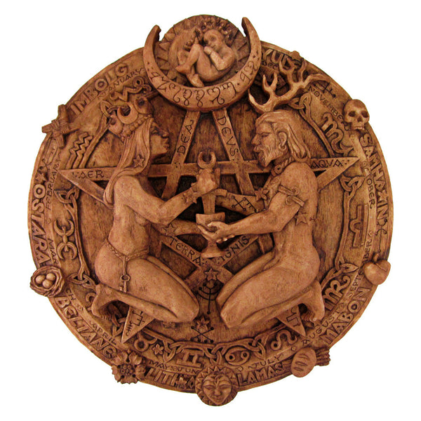 Great Rite Pentacle Plaque in Wood Finish - Dryad Design Zodiac Star Chart Pentagram Pagan Art