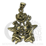 Great Rite Pentacle Pendant Gold tone Bronze Dryad Design Sacred Sexual Union Amulet