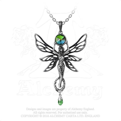 Green Fairy Goddess Pendant - Alchemy Gothic Faery Art Noveau Style Necklace - La Fee Vert