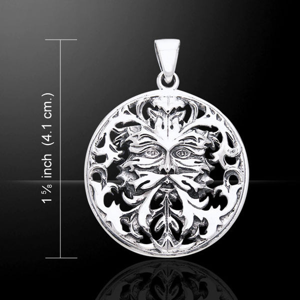 Green Man Pendant in .925 Sterling Silver - Oberon Zell Green Man with Cut outs