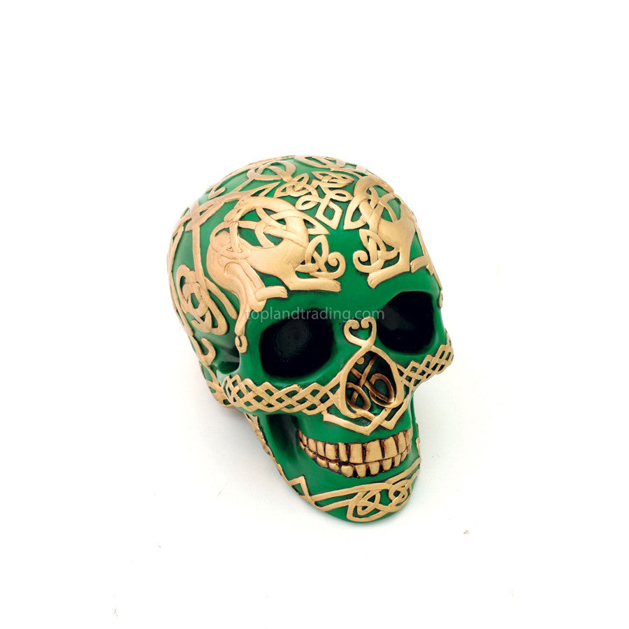 Green Celtic Skull With Gold Design