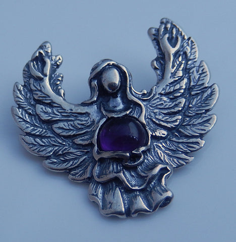 GUARDIAN ANGEL Pendant in Sterling Silver with Genuine Amethyst - Angel Blessing Pendant Protection GUIDANCE