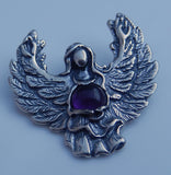 GUARDIAN ANGEL Pendant in Sterling Silver with gemstone - Angel Blessing Pendant Provides Protection GUIDANCE