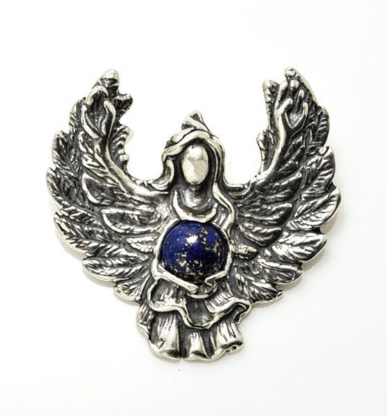 GUARDIAN ANGEL Pendant in Sterling Silver with Genuine Lapis Lazuli - Angel Blessing Pendant Protection GUIDANCE