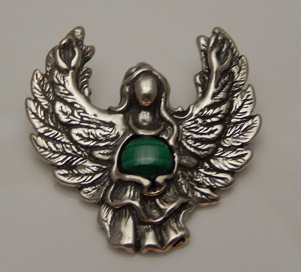 GUARDIAN ANGEL Pendant in Sterling Silver with Malachite - Angel Blessing Pendant Protection GUIDANCE